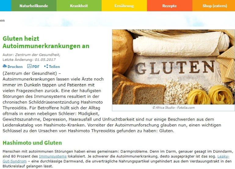 Zentrum der Gesundheit über Gluten (Screenshot)