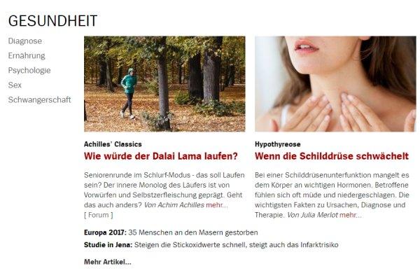 Schilddrüsenunterfunktion bei Spiegel Online