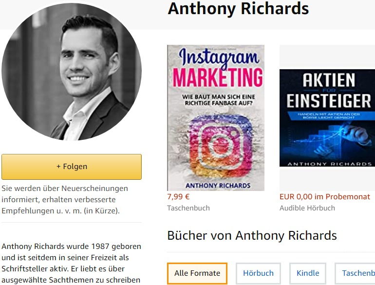 Autorenseite des Fake-Autors Anthony Richards